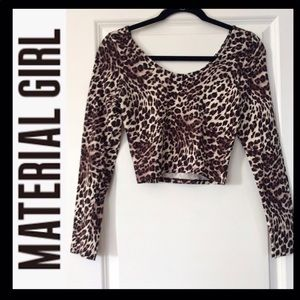 NWOT MATERIAL GIRL Leopard Crop Top